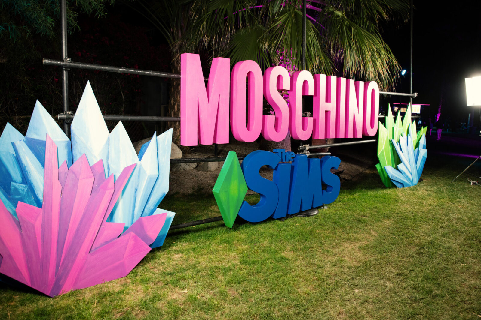 moschino and sims signage at sonic block party marketing agency event