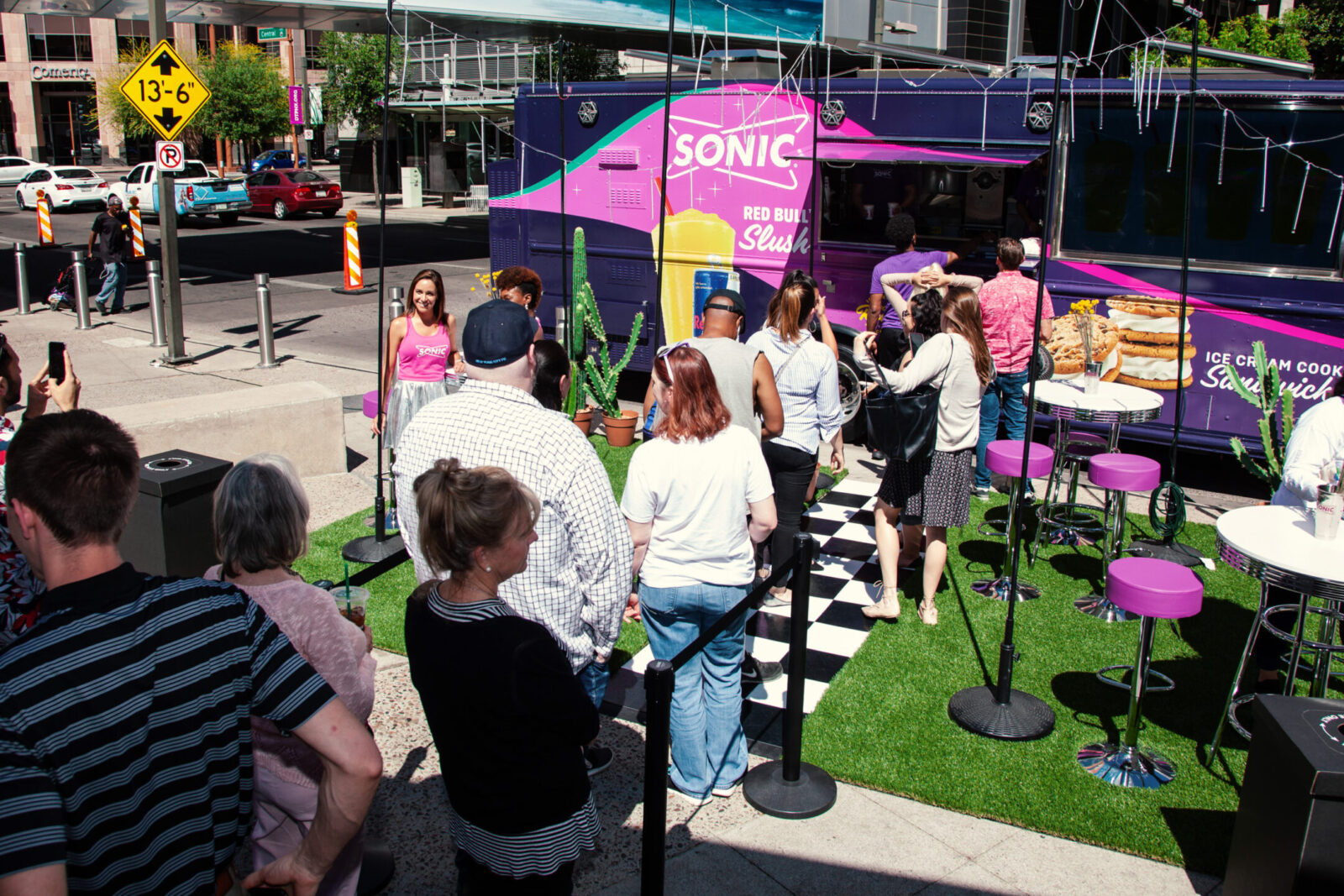 customers in line at sonic block party experiential marketing event