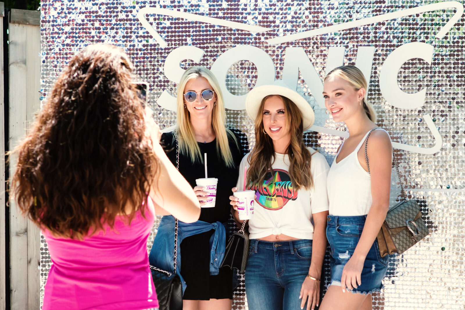customer photo op at sonic block party experiential marketing event