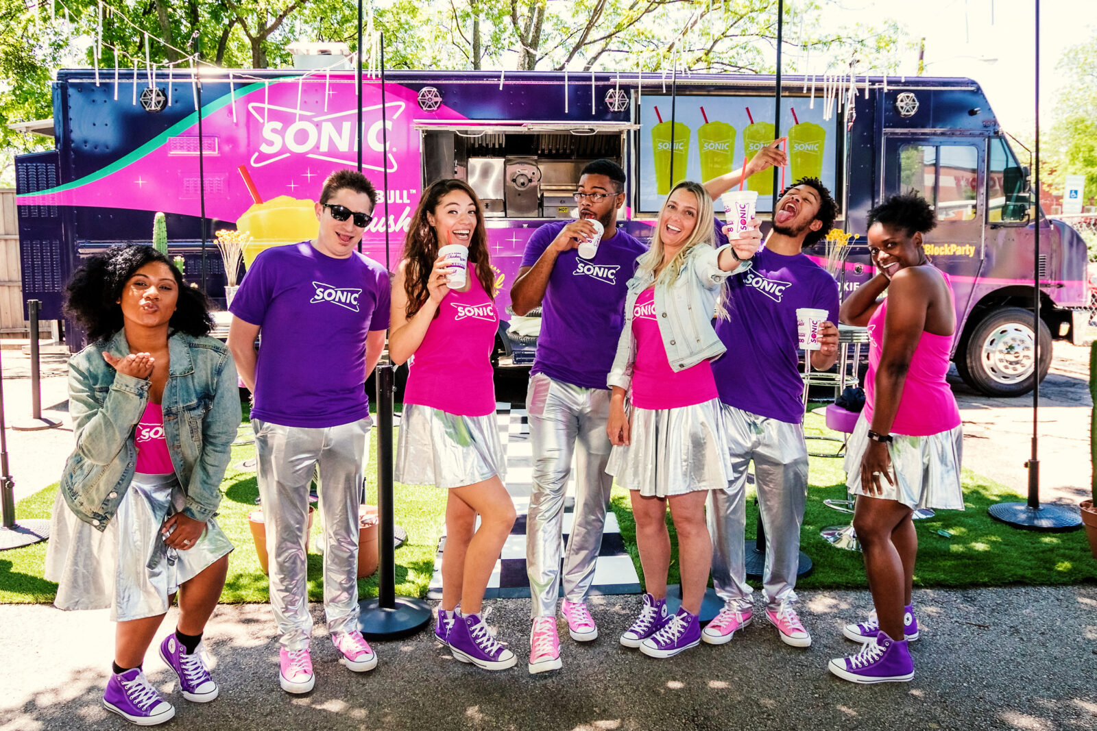 experiential marketing agency food truck team posing