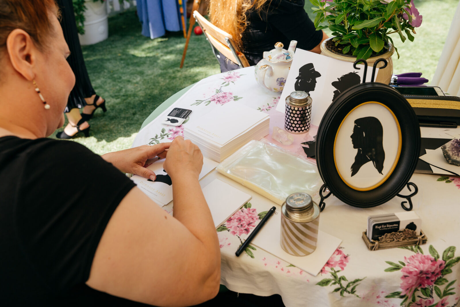calligraphy at downton abbey tea party by event production company