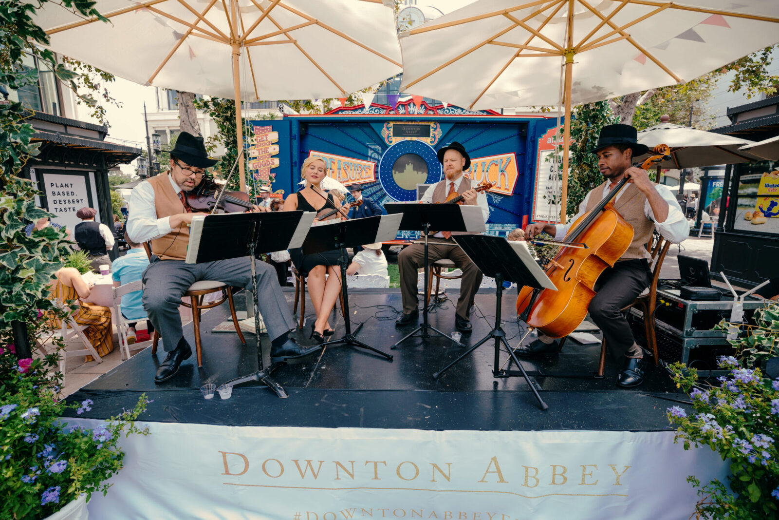 band playing at downton abbey tea party event design