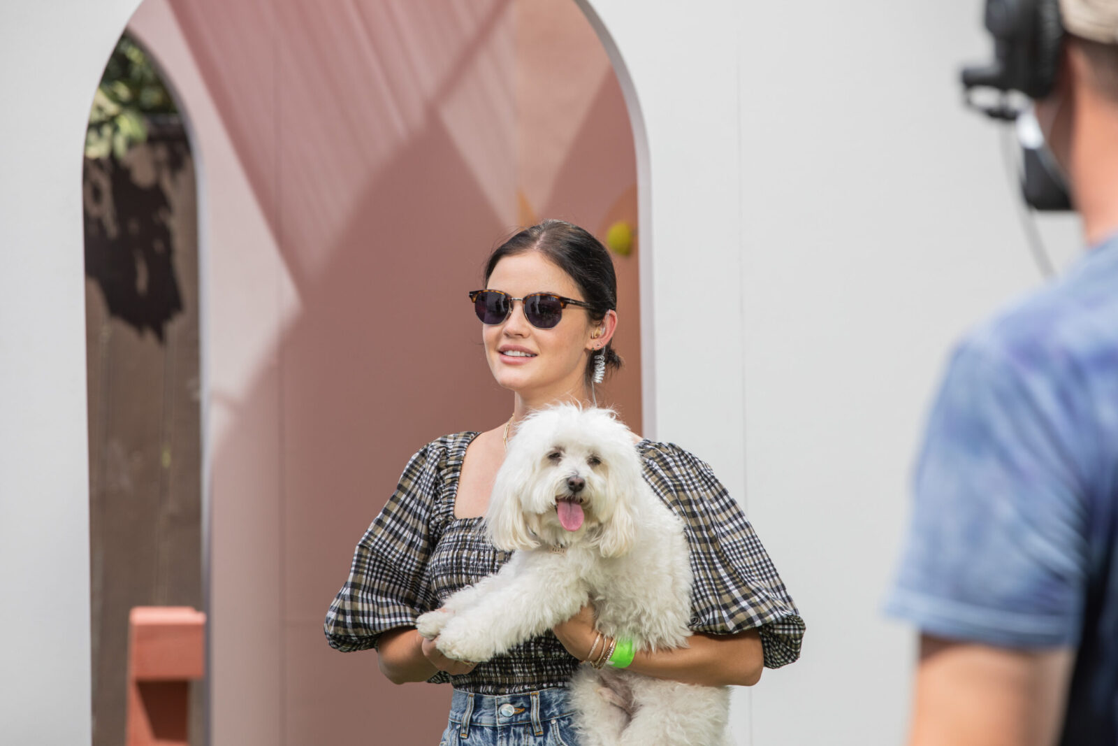 lucy hale and her dog on set for experiential marketing los angeles
