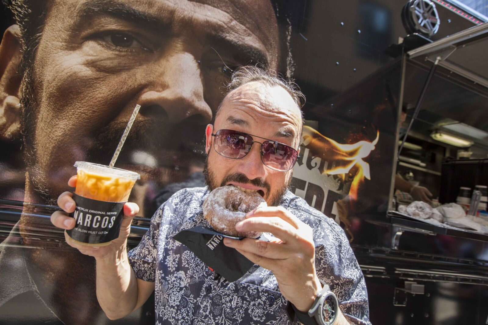 customer eating at mobile tours for narcos