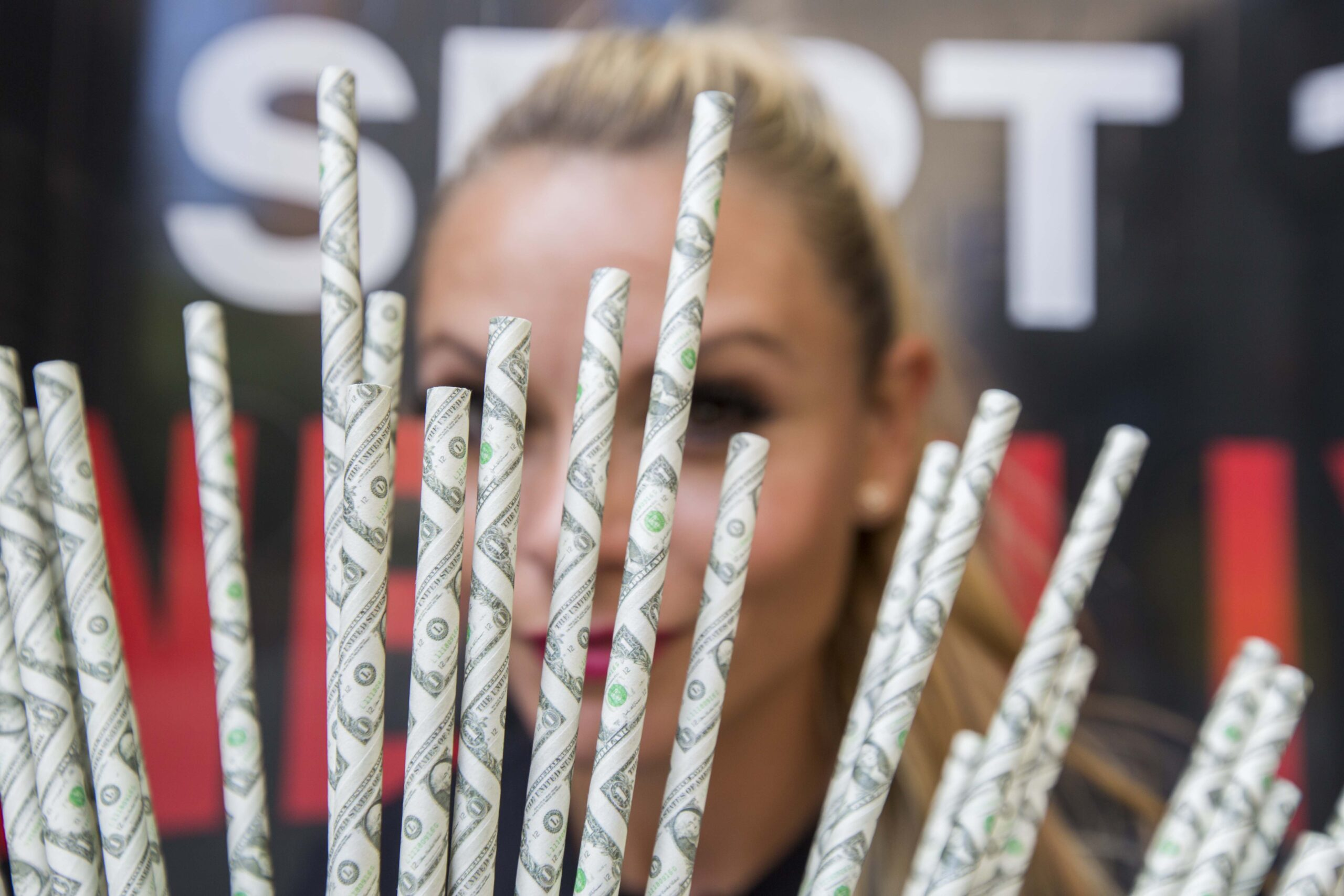 girl with straws at marketing agency narcos event