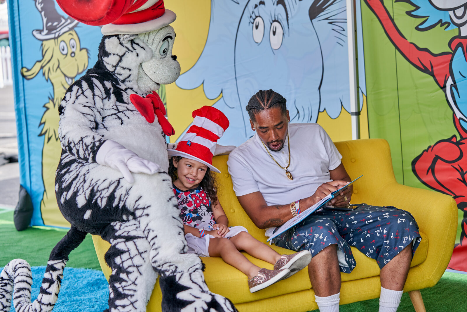 cat in the hat reading to kids for event production company
