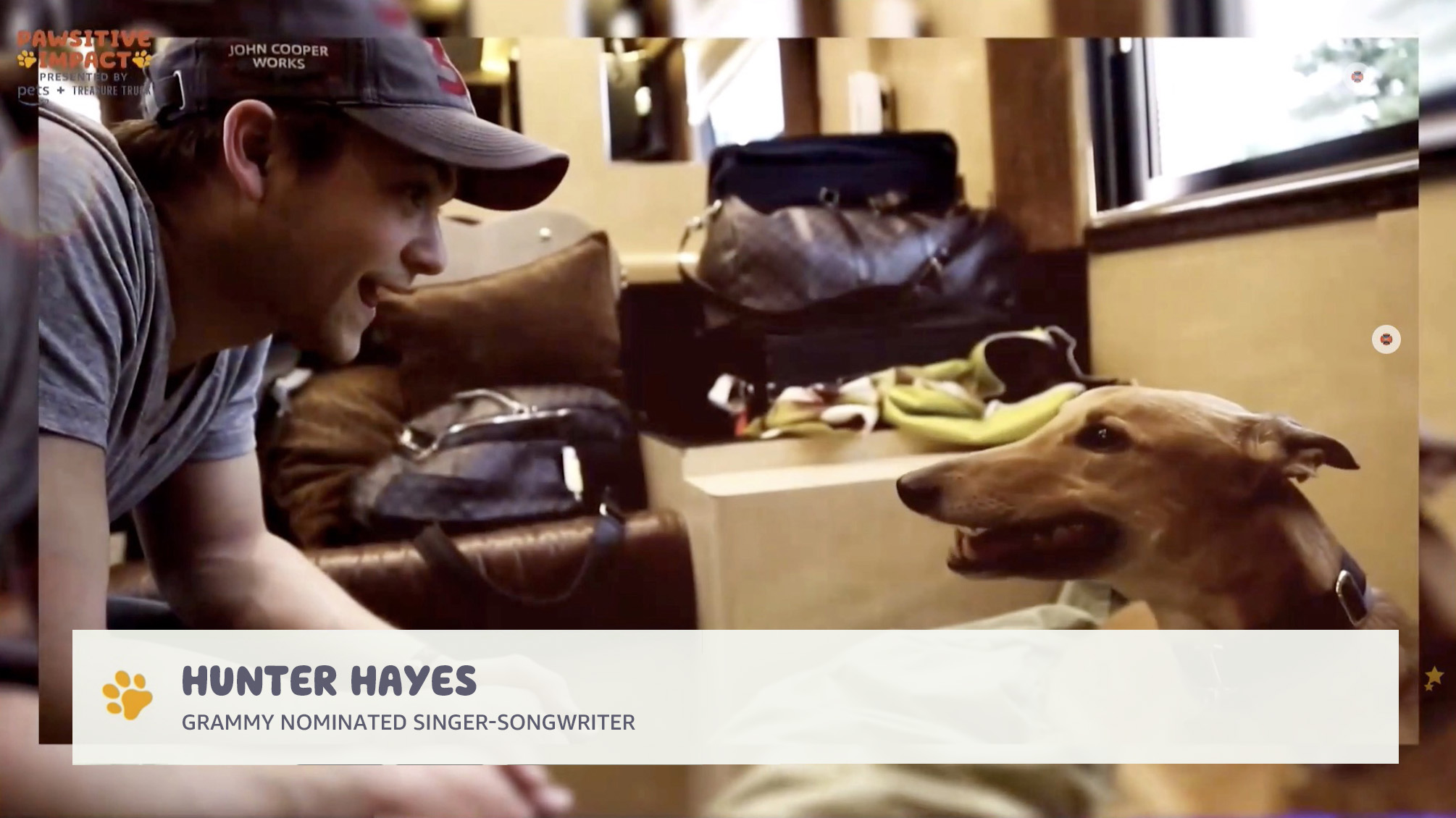 screenshot of hunter hayes dog training in amazon pets event production