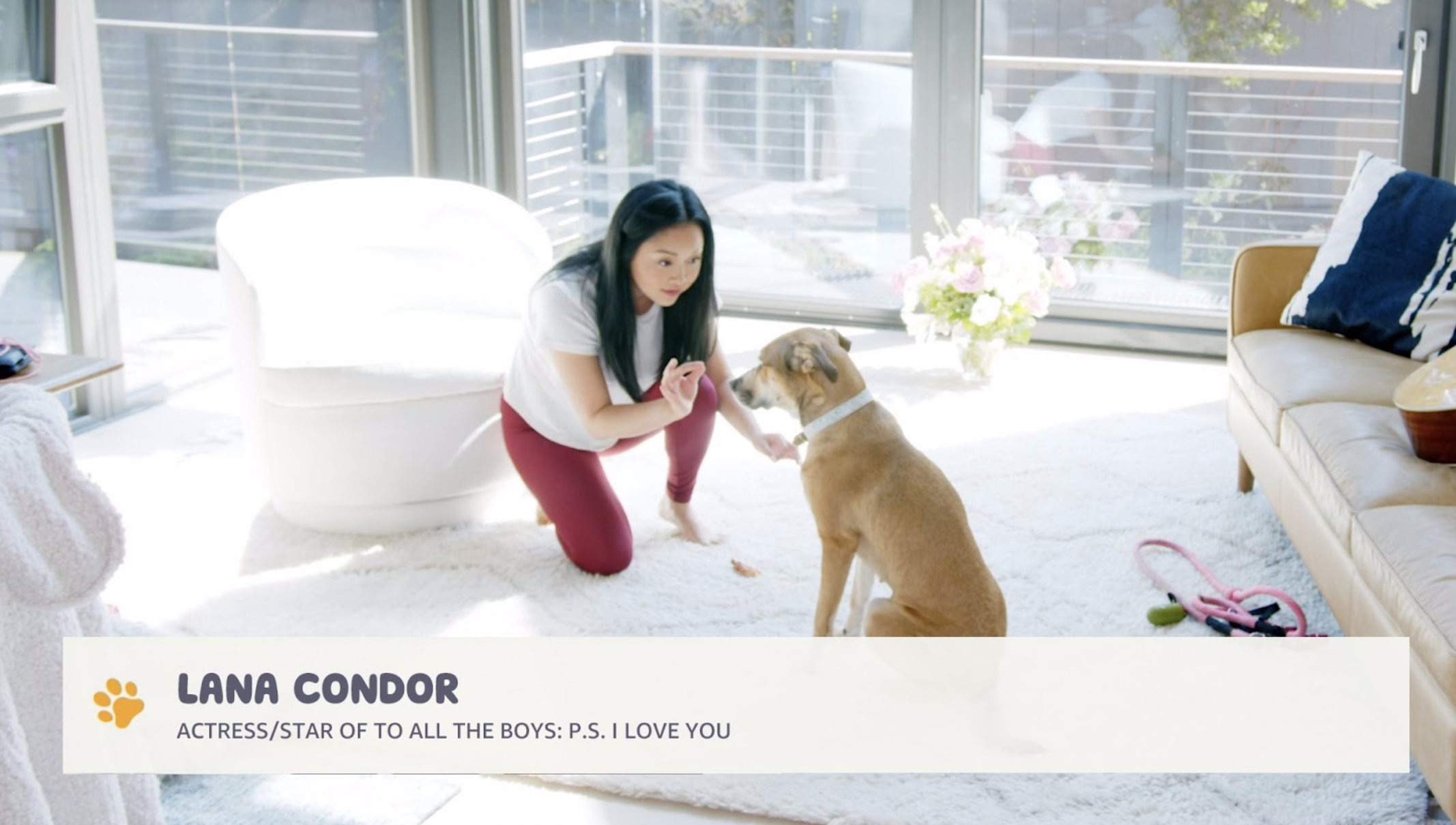 lana condor doing virtual dog training in experiential marketing los angeles