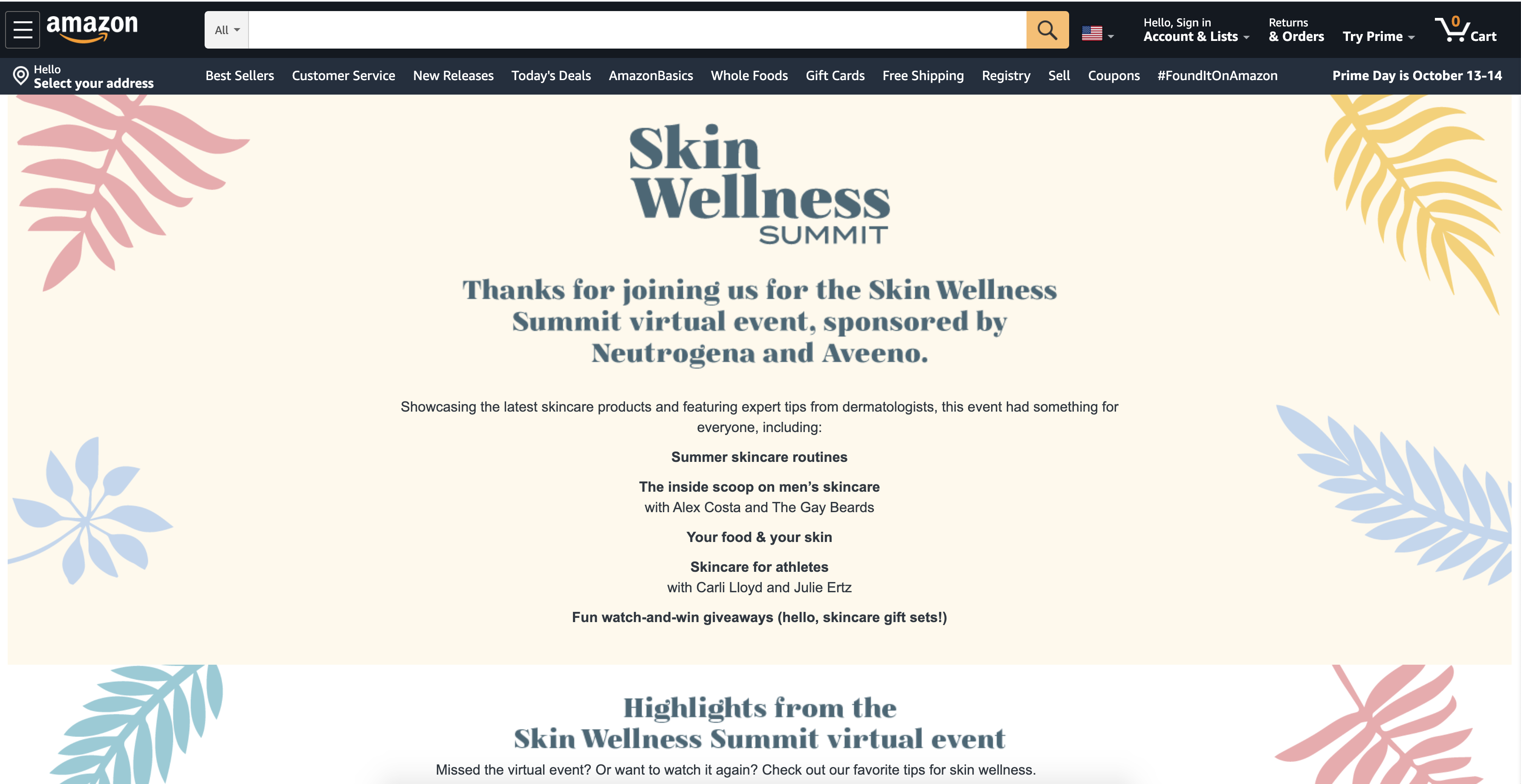screenshot of livestream home page for skin wellness los angeles experiential marketing