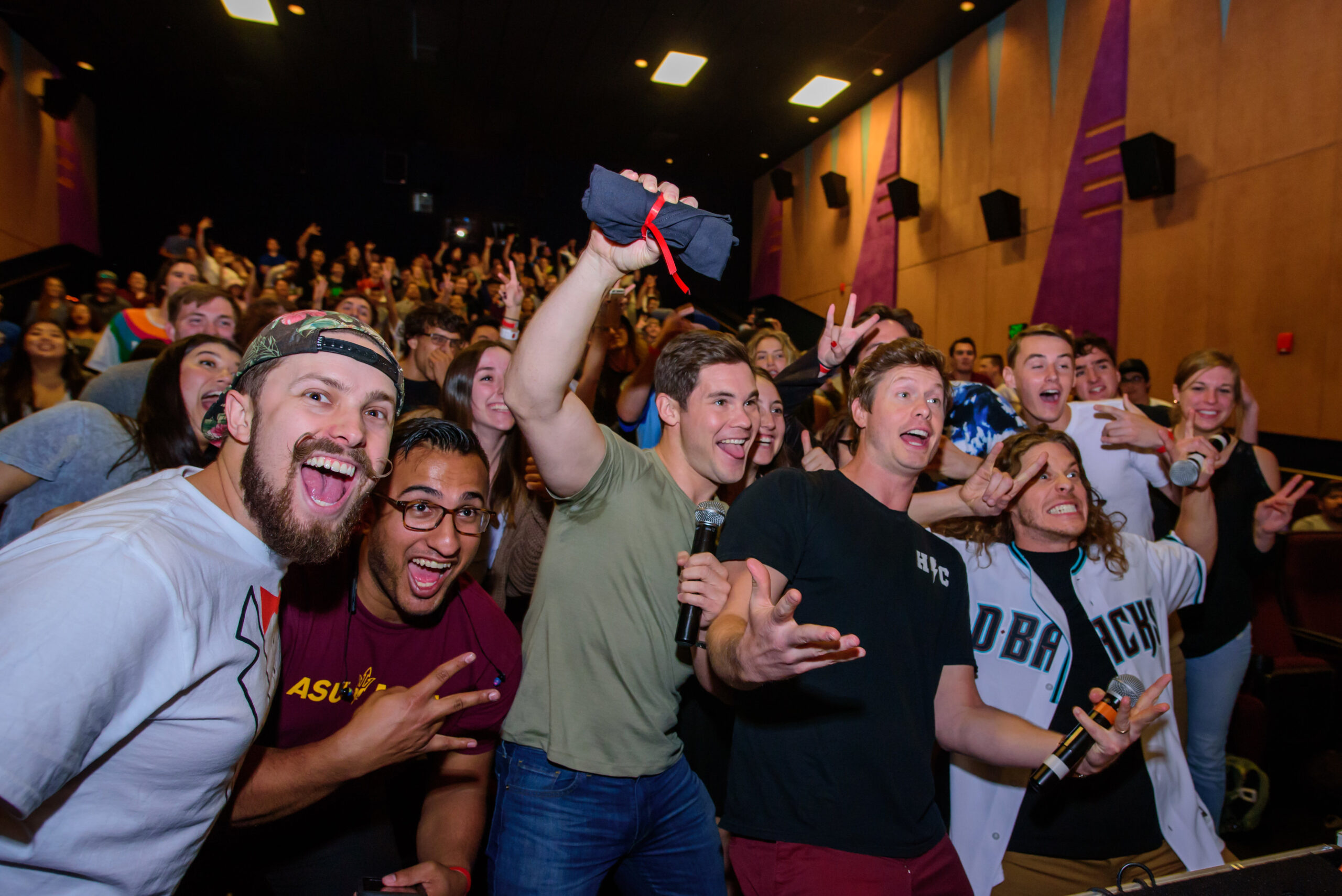workaholics cast with crowd at game over man experiential marketing event