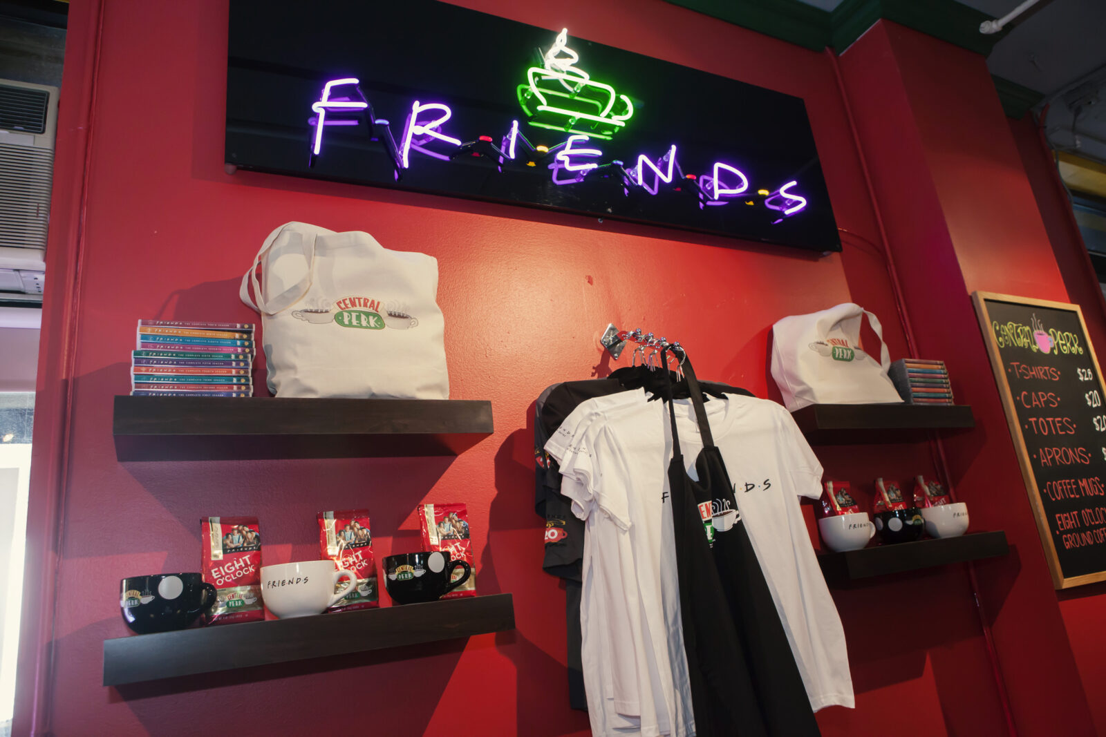 merchandise available for friends central perk pop up