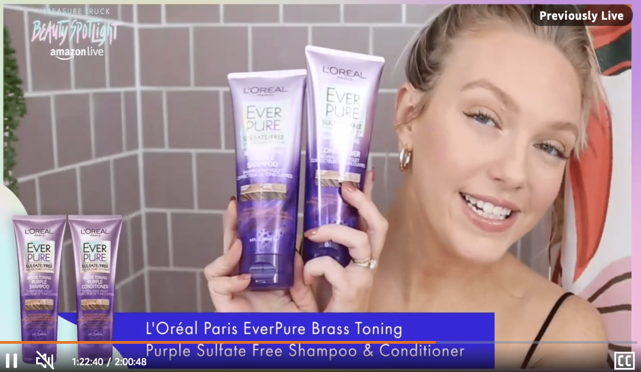l'oreal product demonstration in beauty spotlight, a virtual livestream experiential event