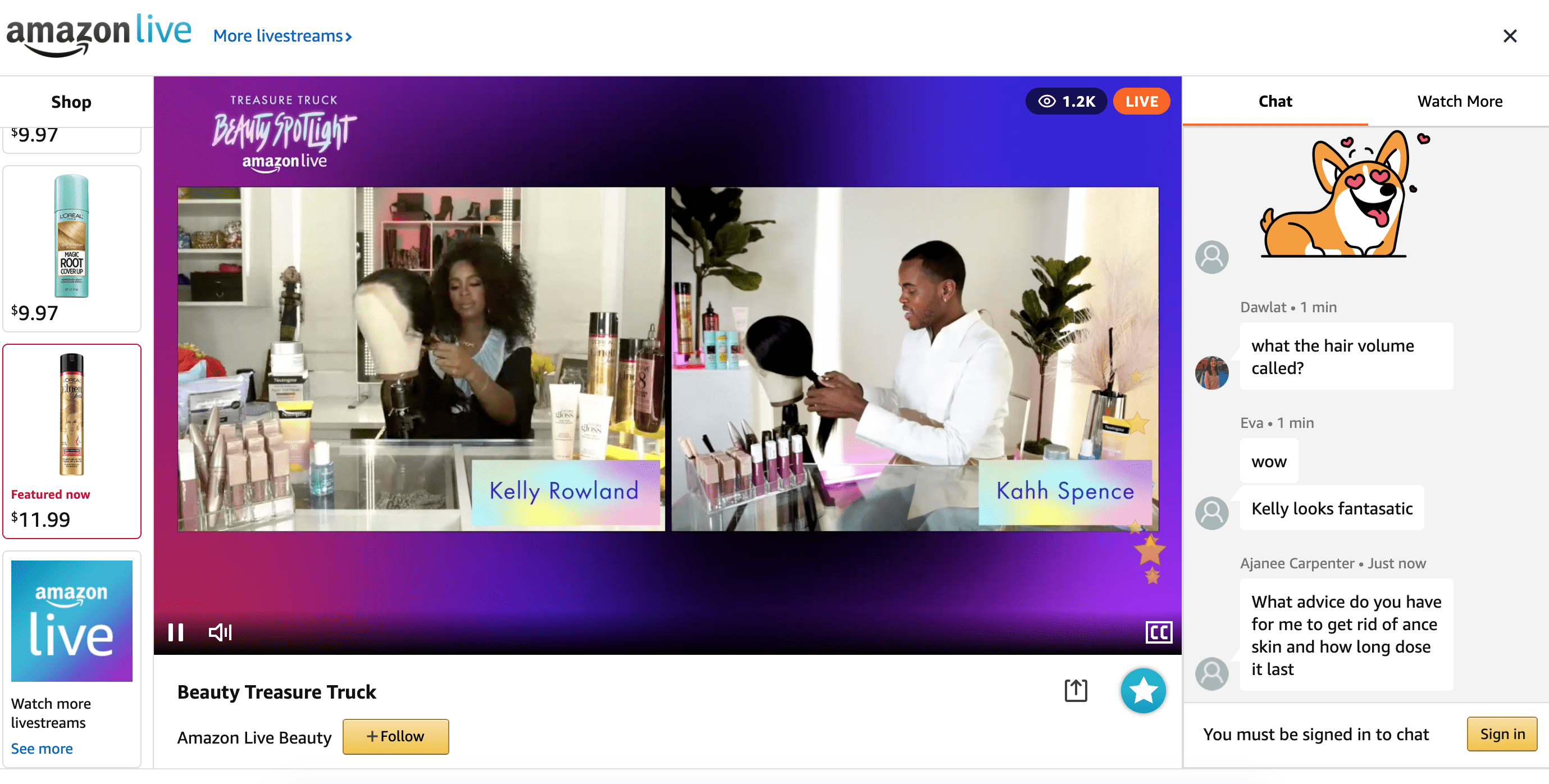 screenshot of kelly rowland product demonstration in livestream brand experience