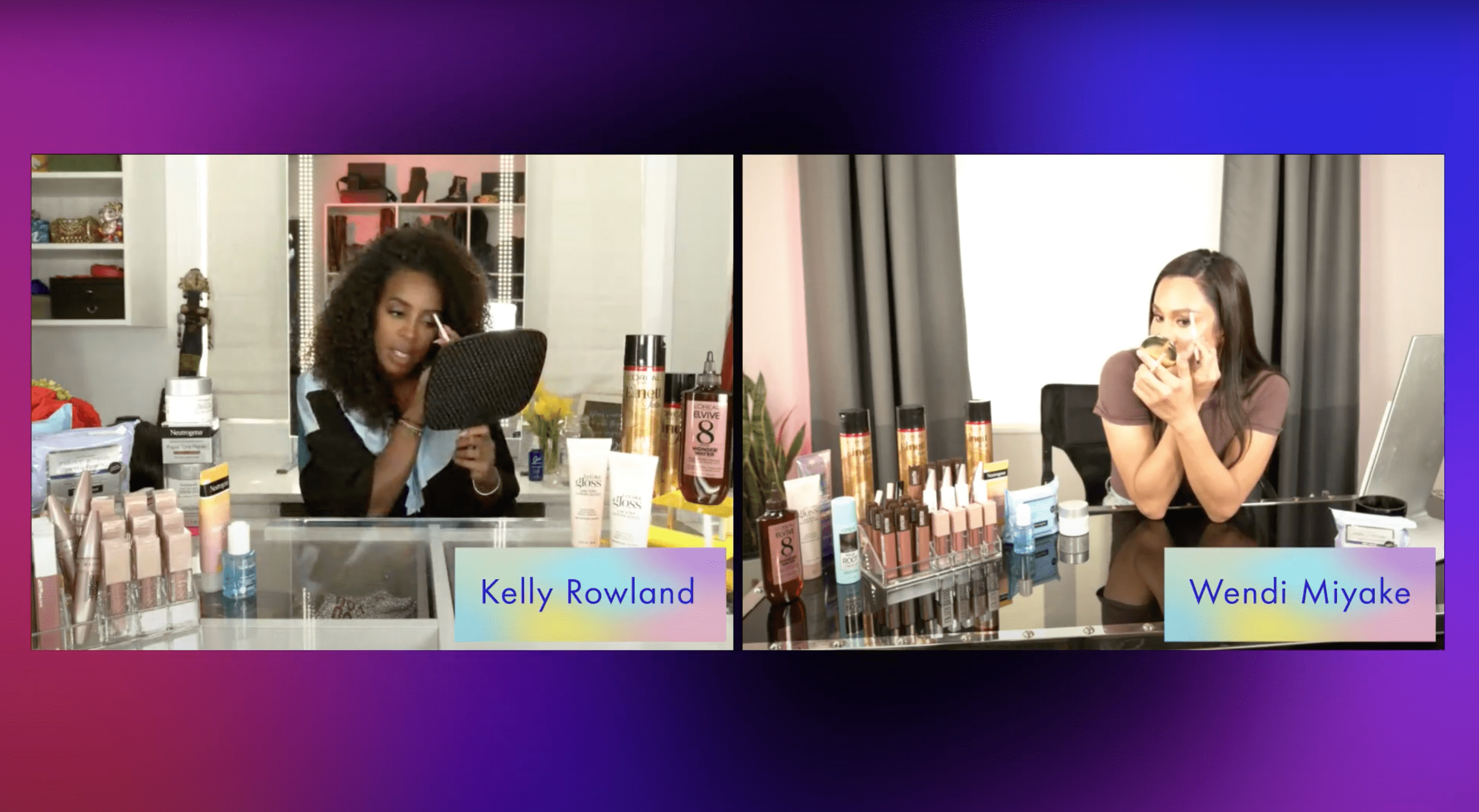 kelly rowland and wendi miyoke showcase product during a livestream brand experience